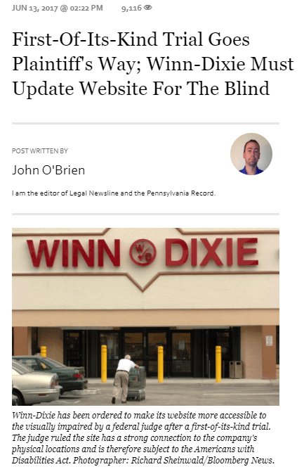Representation of the Winn Dixie Lawsuit article on Forbes.com